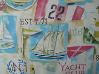 Prestigious Textiles Yacht Club Vintage Fabric Roll Material 100% Cotton
