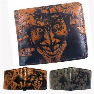 The Joker Wallet Short Bifold Card Holder Brown Embossing Money Purse Gift
