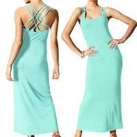hübsches Maxikleid Jersey MAXI Kleid AQUA Blau Gr.34 XS Schlicht & Rafriniert