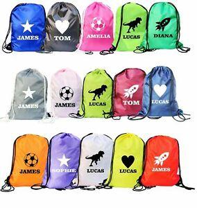 Personalised School Drawstring Bag Boys Girls Kids Swim Gym Sack Dance Sports