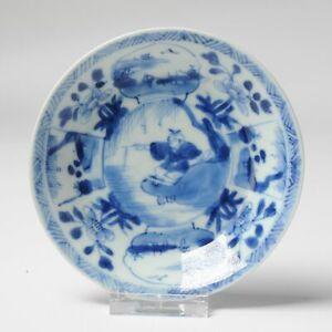 Antique Kangxi Porcelain Dish with a boy fishingBlue and White China
