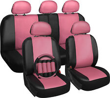 Faux Leather Car Seat Covers Pink Black 17pc w/Steering Wheel/Belt Pad/Head Rest