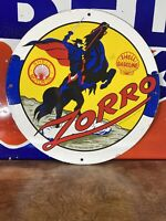 LARGE 1959 VINTAGE ''SHELL ZORRO'' GAS & OIL PUMP PLATE 18 INCH PORCELAIN SIGN