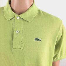 LACOSTE Mens Polo Golf Shirt Size 6 US Sz Large Apple Green Mesh 100% Cotton D3