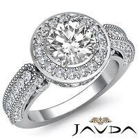 Round Diamond Engagement Ring GIA I Color VS2 18k Halo Pave Set White Gold 2.5ct