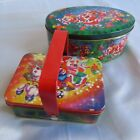 Set Of 2 Christmas Tins Oval Handle Lid Basket Container