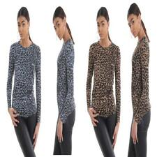 New Women's Leopard Print Long Sleeve Crew Neck Fitted T-Shirt Top Size UK 8-26