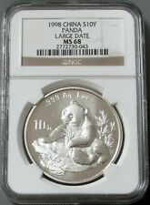 1998 SILVER CHINA 10 YUAN LARGE DATE PANDA NGC MINT STATE 68