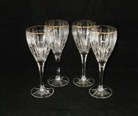 Mikasa GOLDEN TIARA Crystal Wine Glasses Goblets ~ Set of 4