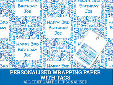 Personalised Happy 3rd Birthday Wrapping paper - Blue Gift wrap with number 3