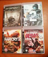 4 PS3 GAMES GHOST RECON RESISTANCE FALL OF MAN FAR CRY 2 VEGAS 2 PLAYSTATION 3
