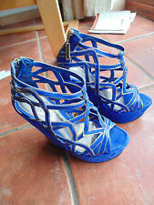 Blue Carvela Garbo High Heel Platform Wedges Size 4 Geiger Womens Shoes Funky