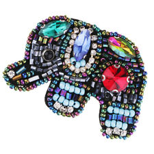 Sequin Elephant Applique Beaded Rhinestone Patches DIY Handicraft Sewing