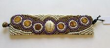 Fashion Toggle Bracelet- Beaded - 6 circles oval white gold purple unique