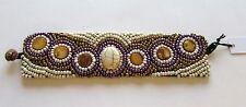 Fashion Toggle Bracelet- Beaded - 6 circles oval white gold purple unique