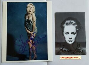 2 hand signed Sharon Stone photos autographed 8x10 color 5x7 BW Skrebneski RARE