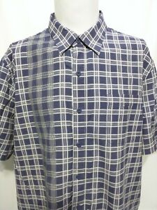 Nat Nast Blue Green White Check Short Sleeve Shirt Mens Size XL
