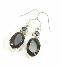 SMOKY QUARTZ GEMSTONE 925 STERLING SILVER EARRINGS STAMPED OVAL ROUND CUT 4.5 g