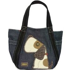 Chala Purse Handbag Leather & Canvas Carryall Tote Bag Puppy Dog