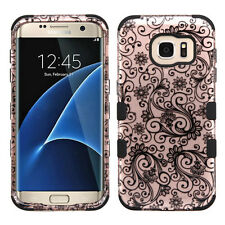 for Samsung Galaxy S7 Edge Rose Gold Four-leaf Clover Hard Hybrid Case Cover
