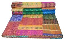 Handmade Patchwork Kantha Embroidery Twin/Single Blanket Throw Indian Bedspread
