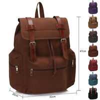 Unisex Canvas Rucksack School Men Gym Ladies Travel Girl Boy College Backpack UK