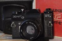 ZENIT ET Russian SLR camera USSR Lens HELIOS 44M-4 +Box,case