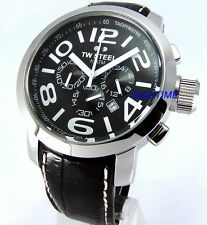 TW STEEL MEN JAPAN MOVEMENT CHRONOGRAPH SOLID STAINLESS STEEL 45mm LEATHER TW50