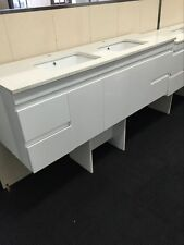 Wall Hung 1500mm Stone Top Double Bowl  Bathroom Vanity Unit