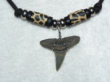 "Fossil lemon shark tooth necklace: ""leopard"" beads on adjustable cord 05"