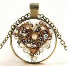 Vintage Steampunk Heart Photo CABOCHON Glass Bronze Chain Pendant Necklace