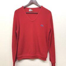 Vintage Izod Lacoste V Neck Sweater Red Alligator Logo Mens Small