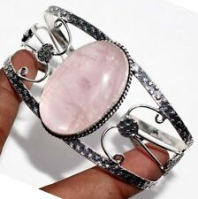 G10692 Rose Quartz 925 Sterling Silver Plated Bangle Jewelry