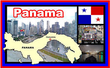 PANAMA Mapa & Bandera/MONUMENTOS - RECUERDO ORIGINAL Imán de NEVERA -NUEVO-