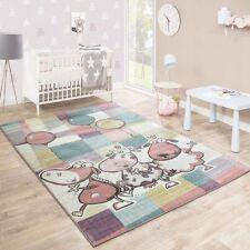 Children Animal Rug Pastel Multi Colour Kids Farm Bedroom Carpet Play Mat Large 200x280cm
