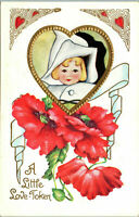 Valentine~DARLING BABY IN WHITE HOOD~POPPIES~GOLD Embossed Antique Postcard