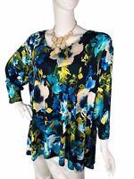 Susan Graver 3X Multicolored Floral Print Women's Plus Stretch Blouse
