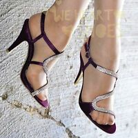 Ladies Satin Ankle strap Shoes diamante High Heel Sparkly Sandals Evening size