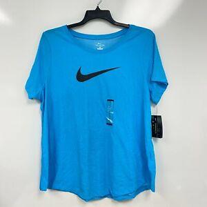 Nike Womens Chlorine Blue Glacier Dri-FIT Logo Training Tee T-Shirt Plus Size 1X
