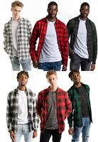 Men's Cotton Flannel Shirt Long Sleeve Plaid Shirt Brushed Outdoor Button Shirts