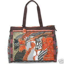 Laurel Burch Brown Morrocan Mares Native Horses Travel Canvas Tote Bag NWT
