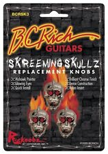 BC Rich Skreeming Skullz ELECTRIC GUITAR replacment Knobs 3 piece Set