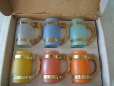 Vintage 6 SIESTA WARE FROSTED TROPICAL BARREL MUGS Wood Handles ~ NEW IN BOX