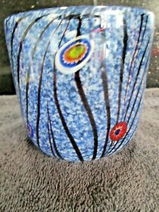 Murano Style Studio/Art Glass Vase/Bowl Blue with Millefiori