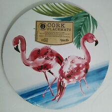 Benson Mills FLAMINGOS Round Cork Placemats (Set of 4)