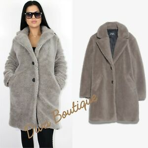 Zara AW 2019/20 Grey Faux Shearling Coat RRP 79 Size M Free P&P Brand New