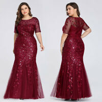 Ever-pretty US Plus Size Burgundy Prom Gown Sequins Mermaid Formal Evening Dress