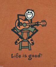 Life Is Good Mens Jake Plays Acoustic Guitar T Shirt - Red - Medium