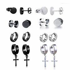 Pendientes de acero inoxidable de 8 piezas Pendientes de aro de plata Cruz colga