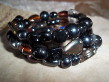 Hand Crafted BLACK Glass BEAD Memory Wire Wrap Bracelet Beach Gypsy D-116